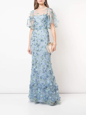 Cap Sleeve Embroidered Tulle Gown