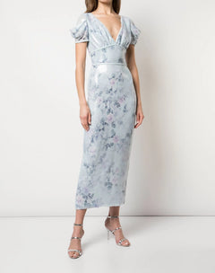 Load image into Gallery viewer, Cap Sleeve Printed Sequin Gown