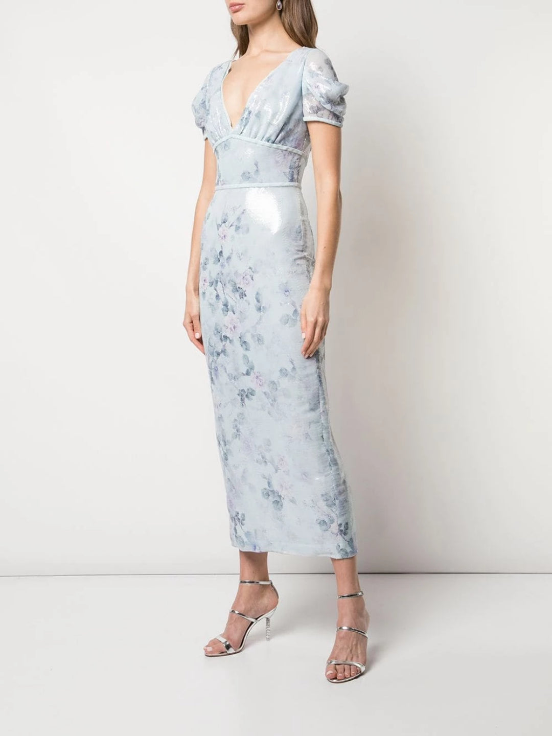 Cap Sleeve Printed Sequin Gown