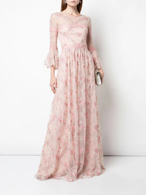 Flounce Sleeve Point D'Esprit Gown