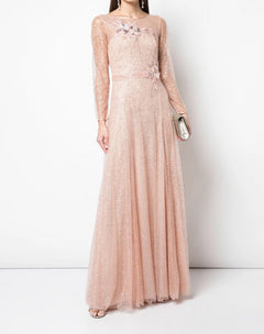 Load image into Gallery viewer, Long Sleeve Glitter Tulle Gown
