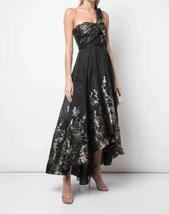 Load image into Gallery viewer, Draped One Shoulder Metallic High Low Gown