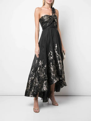 Draped One Shoulder Metallic High Low Gown
