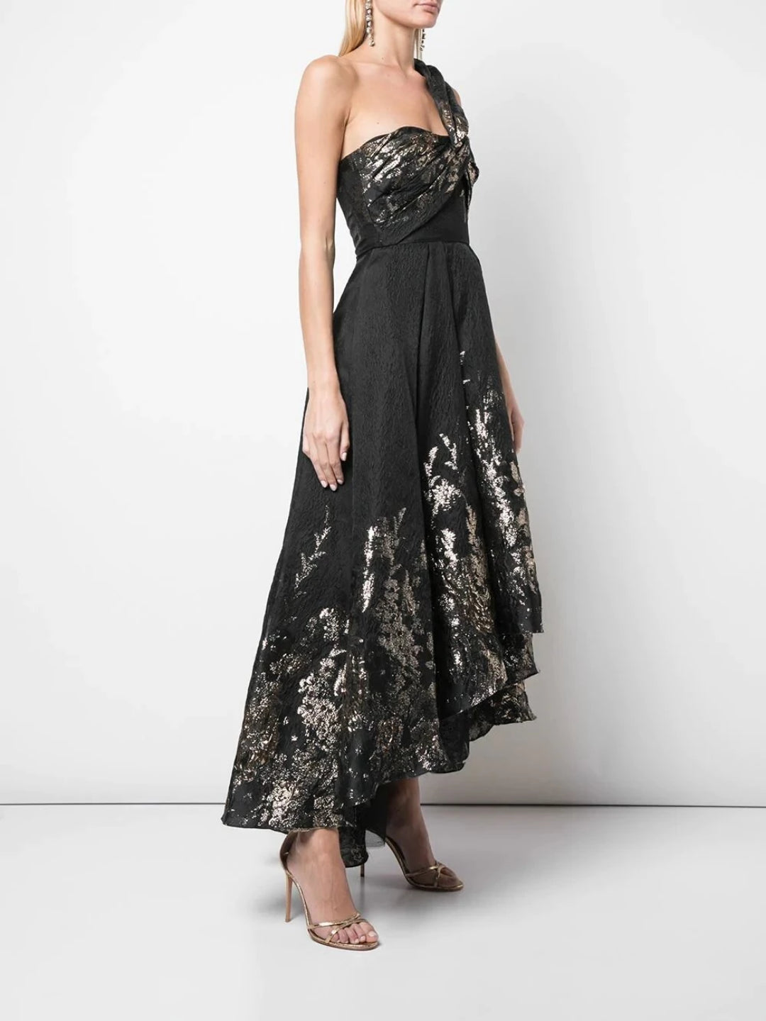 Draped One-Shoulder Metallic Hi-Low Gown