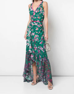 Load image into Gallery viewer, V-neck Printed Burnout Chiffon Gown