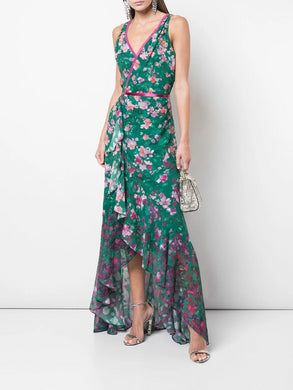 V-neck printed burnout chiffon gown
