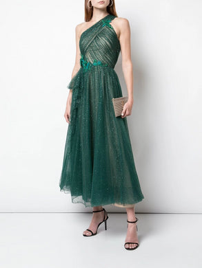 One-Shoulder Glitter Tulle Tea Length