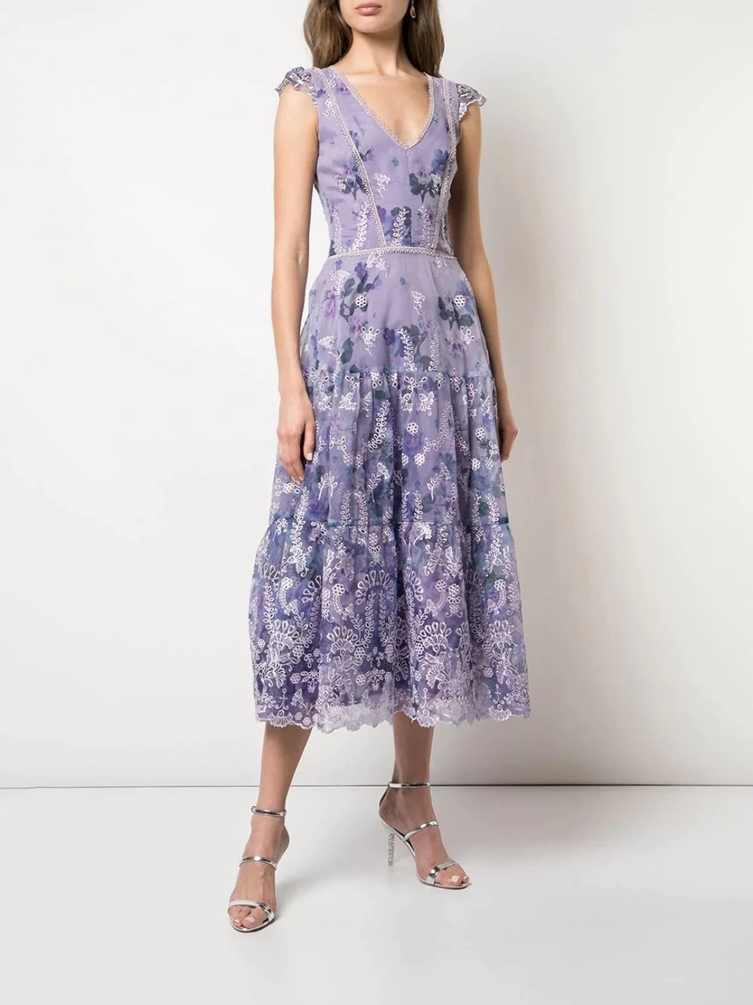 Cap Sleeve Eyelet Cocktail Dress