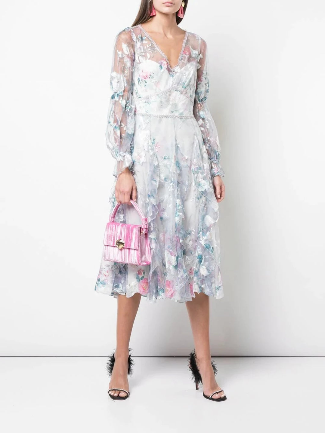 Bishop Sleeve Ruffle Cocktail Dress