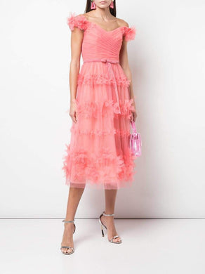 3D Floral Stripe Tulle Cocktail Dress