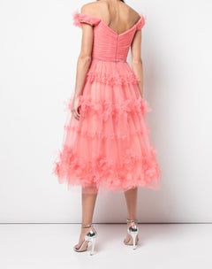 Load image into Gallery viewer, 3D floral stripe tulle cocktail dress