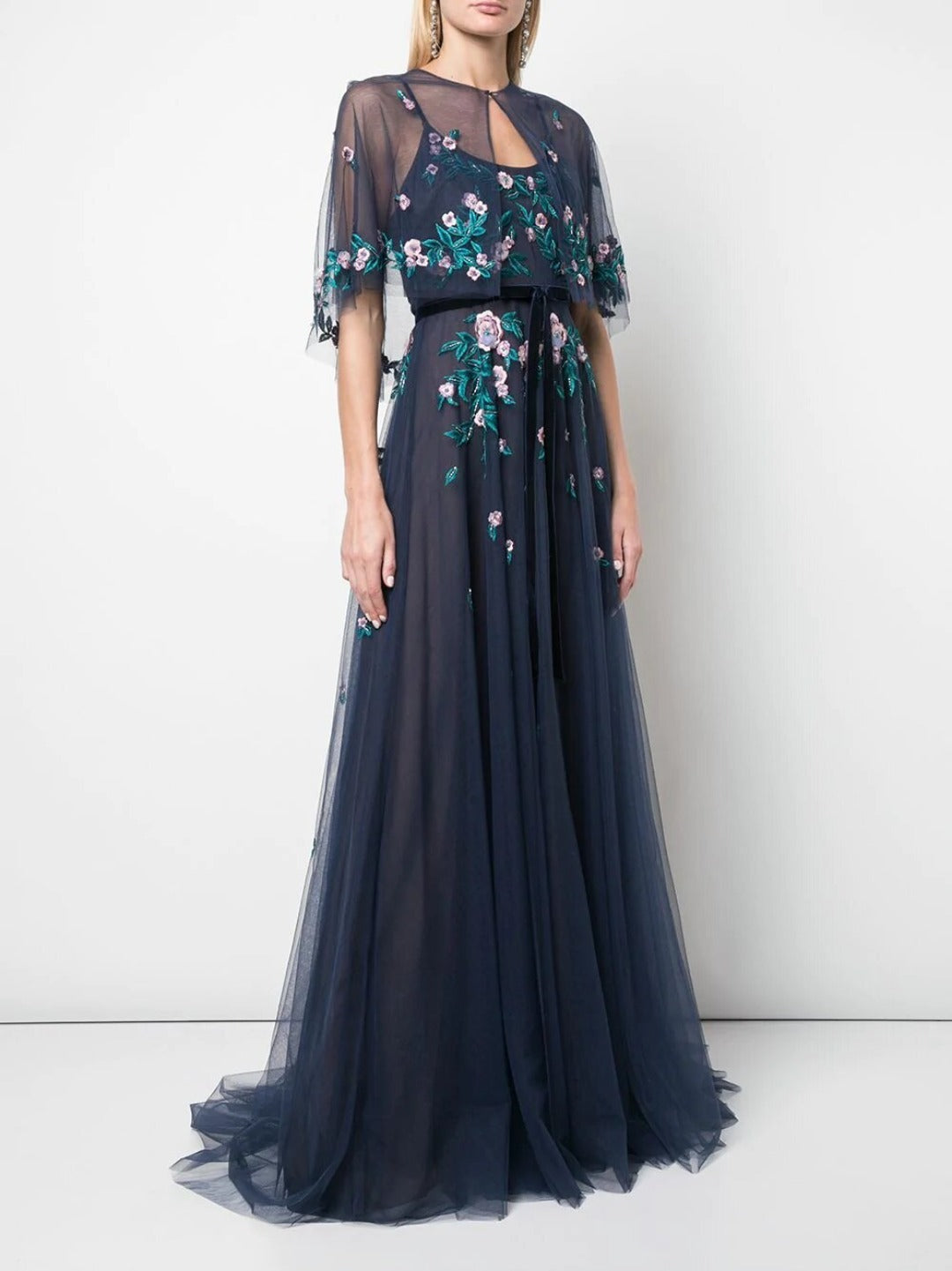 Embroidered Tulle Gown With Capelet
