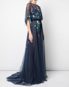 Load image into Gallery viewer, Embroidered Tulle Gown With Capelet