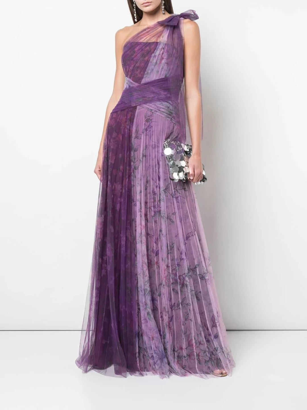 One-Shoulder Pleated Gown