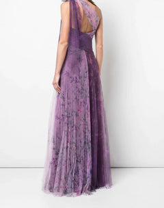 Load image into Gallery viewer, One-Shoulder Pleated Gown Lilac