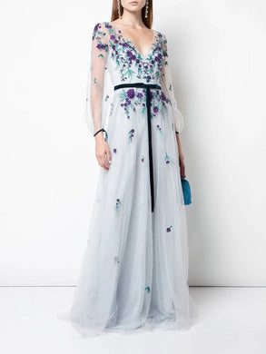 Bishop Sleeve Beaded Gown