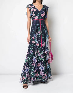 Load image into Gallery viewer, Printed Burnout Chiffon Gown