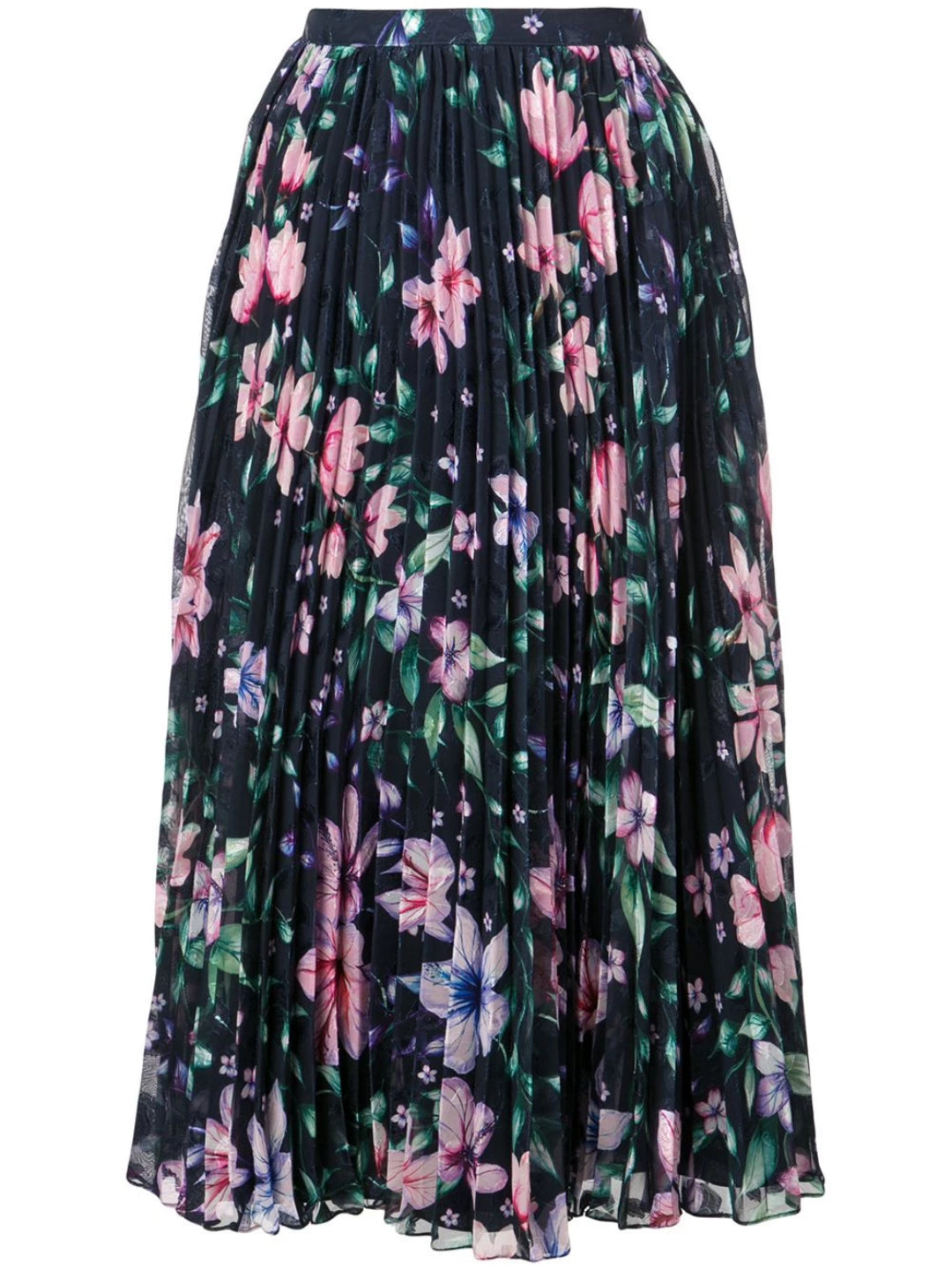 Pleated Burnout Chiffon Skirt