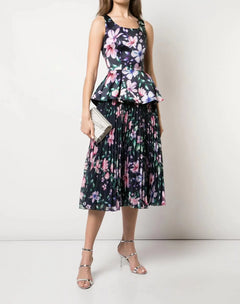 Load image into Gallery viewer, Pleated Burnout Chiffon Skirt