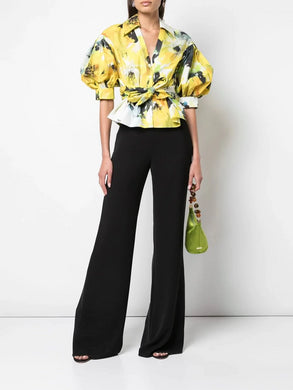 Floral Printed Top With Billowing Sleeves