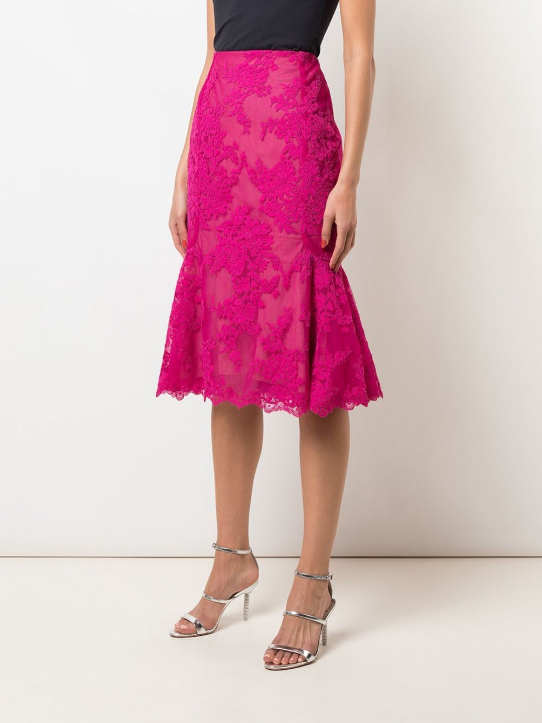Corded Lace Fit-to-Flare Skirt