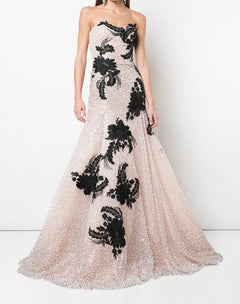Load image into Gallery viewer, Blush Tulle Gown With Black And With White Applique