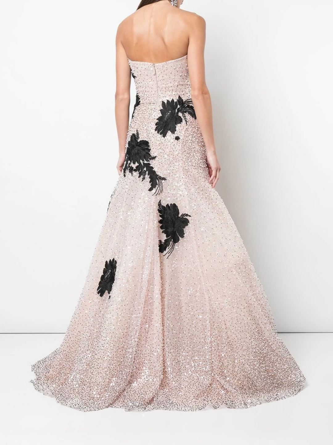 Blush Tulle Gown With Black And With White Applique