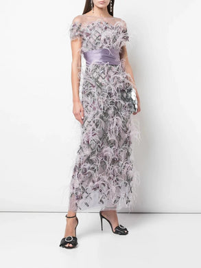 Feathered Ankle Length Gown