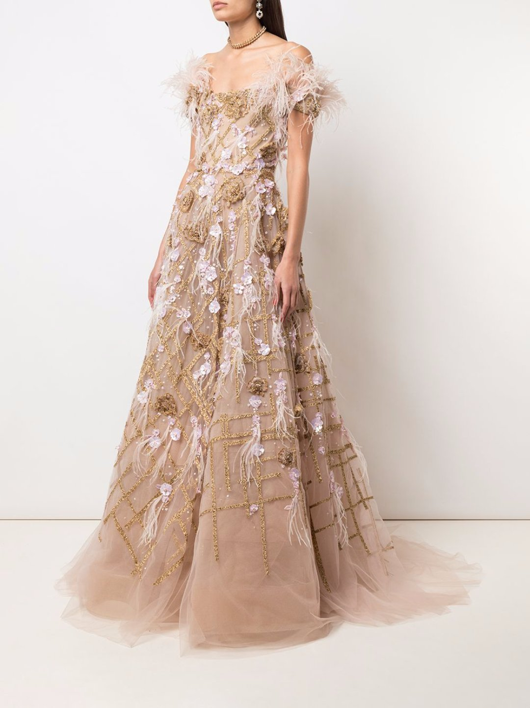 Ballgown with flutter sleeves
