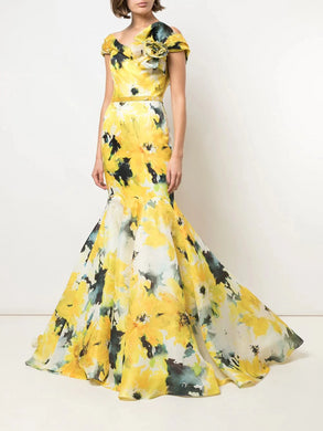 Floral Print Fit-to-Flare Gown