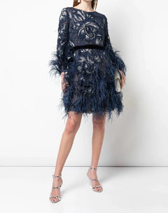 Load image into Gallery viewer, Gardenia Feather Lace Cocktail Dress