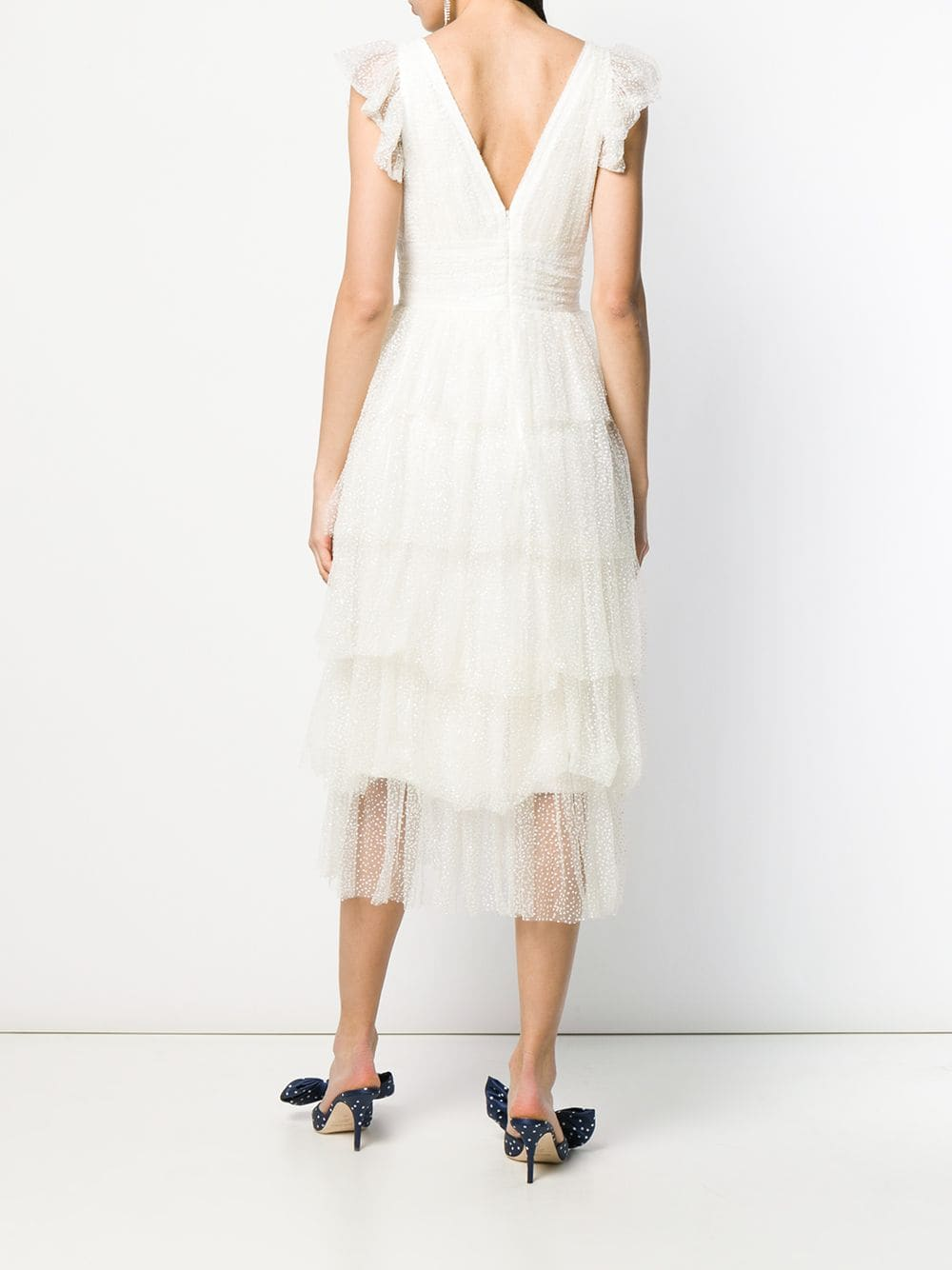 Flutter Sleeve Glitter Tulle Cocktail Dress