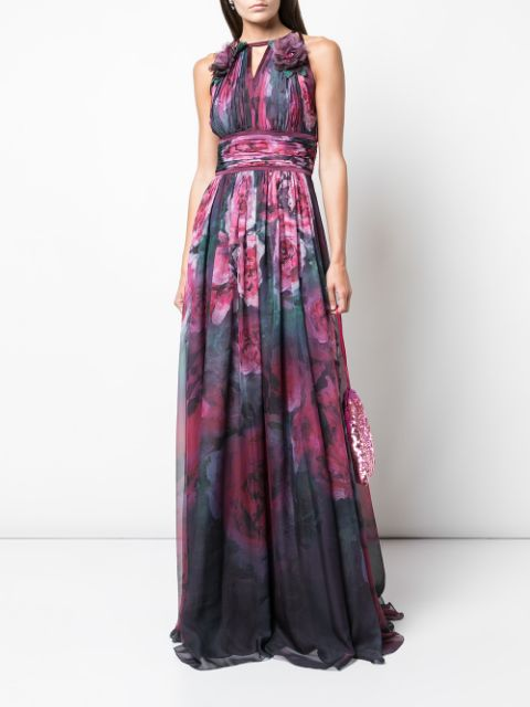 Sleeveless Floral Printed Chiffon Gown