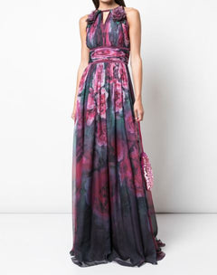 Load image into Gallery viewer, Sleeveless Floral Printed Chiffon Gown