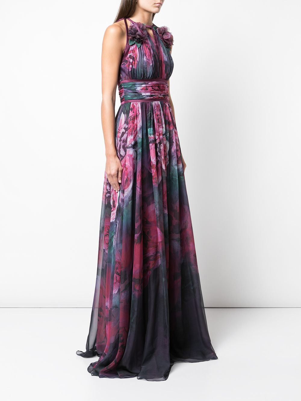 Sleeveless Floral Print Chiffon Gown