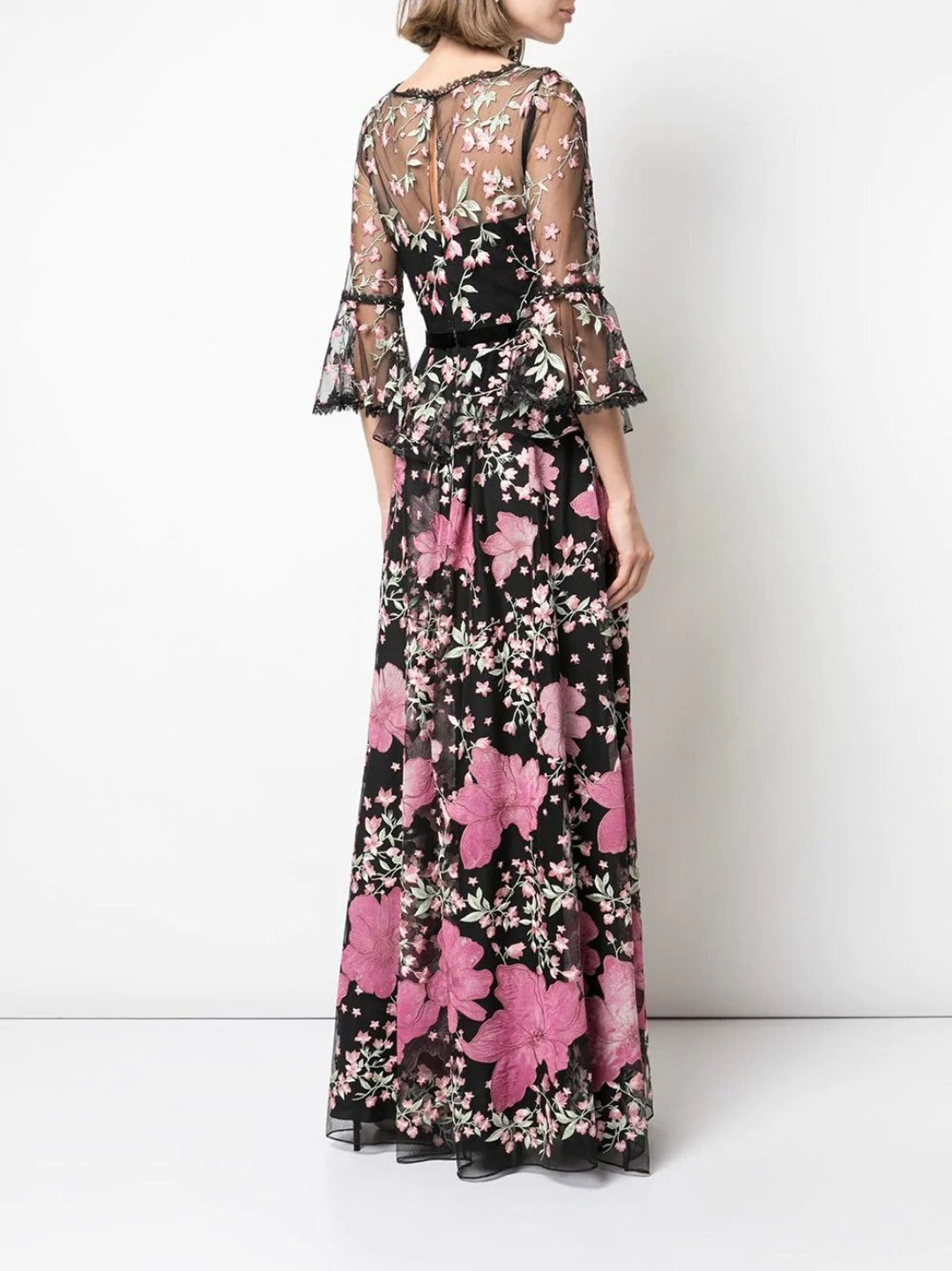3/4 Floral Embroidered Gown