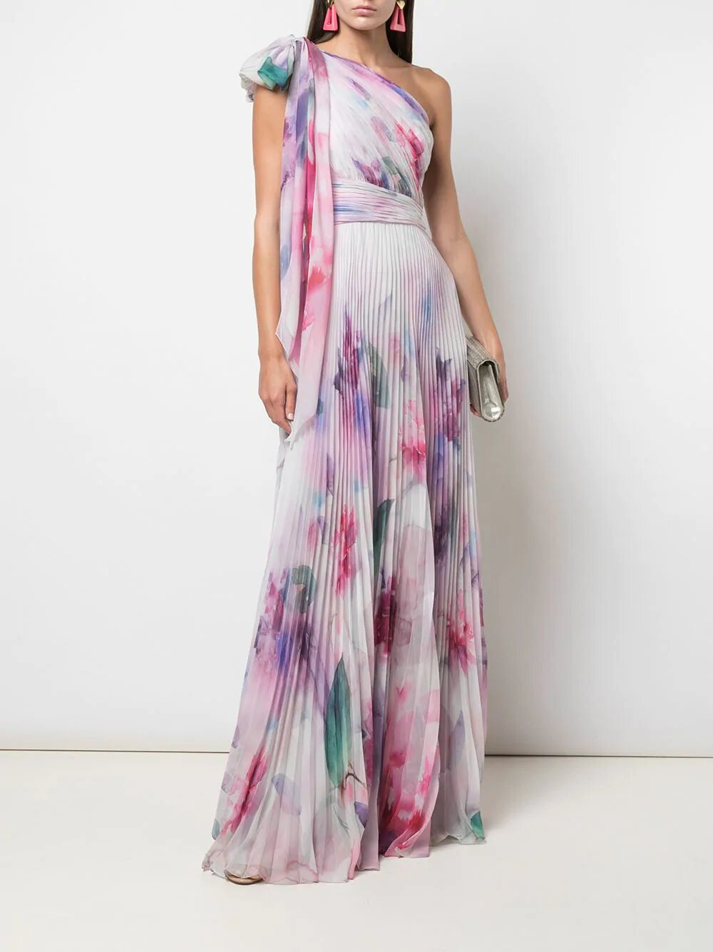 One Shoulder Draped Floral Blush Print Chiffon Gown