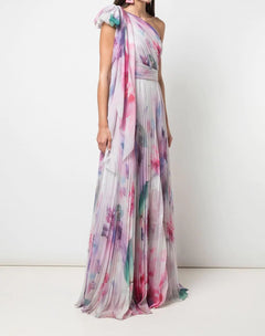 Load image into Gallery viewer, One Shoulder Draped Floral Blush Print Chiffon Gown