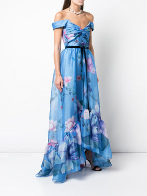 Off Shoulder Floral Print Organza Gown