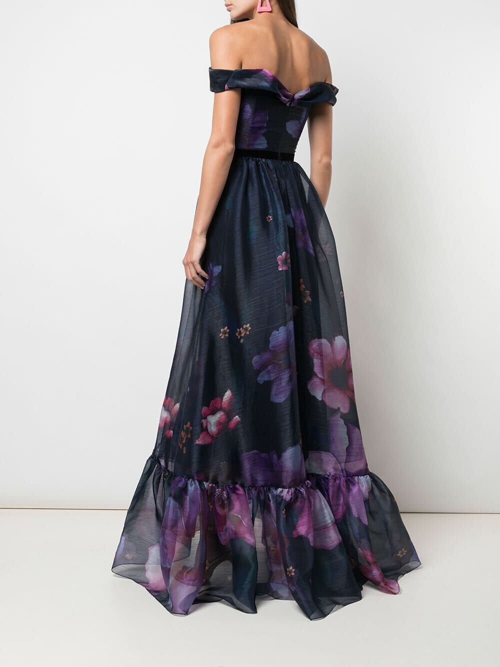 Off-the-Shoulder Floral Print Organza Gown