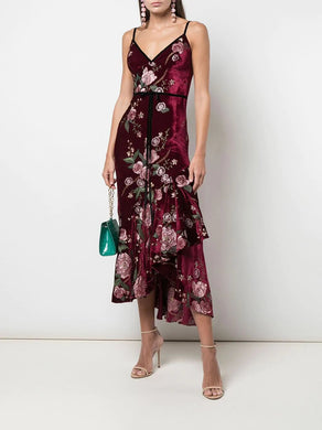 Sleeveless Embroidered Wine Velvet Cocktail Dress