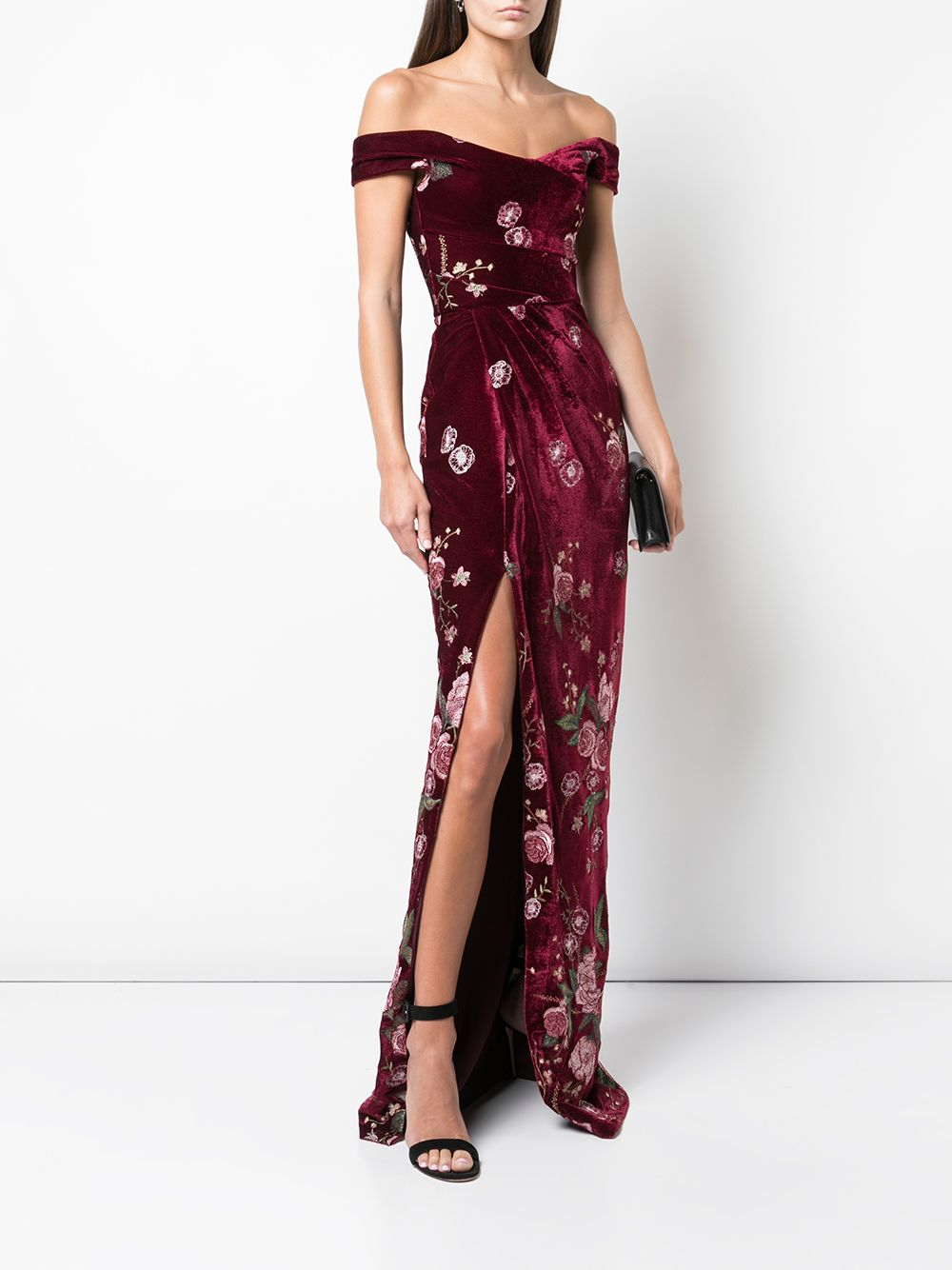 Off The Shoulder Embroidered Velvet Gown