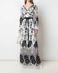 Load image into Gallery viewer, Long Sleeve Velvet Embroidered Guipure Gown