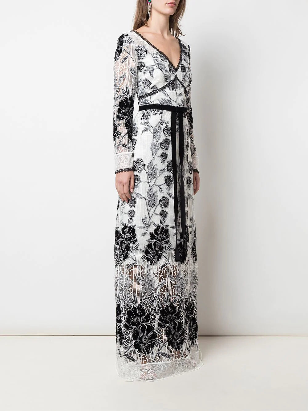 Long Sleeve Velvet Embroidered Guipure Gown