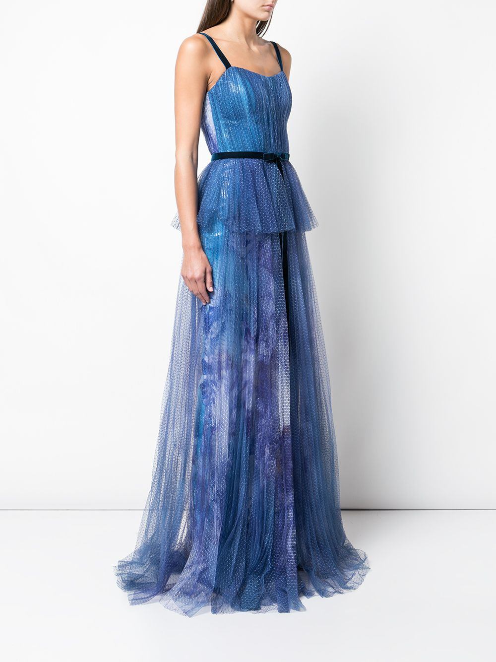 Printed Sequin Pleated Tulle Gown
