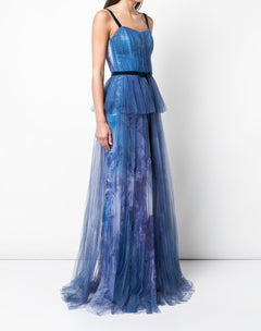 Load image into Gallery viewer, Printed Sequin Pleated Tulle Gown