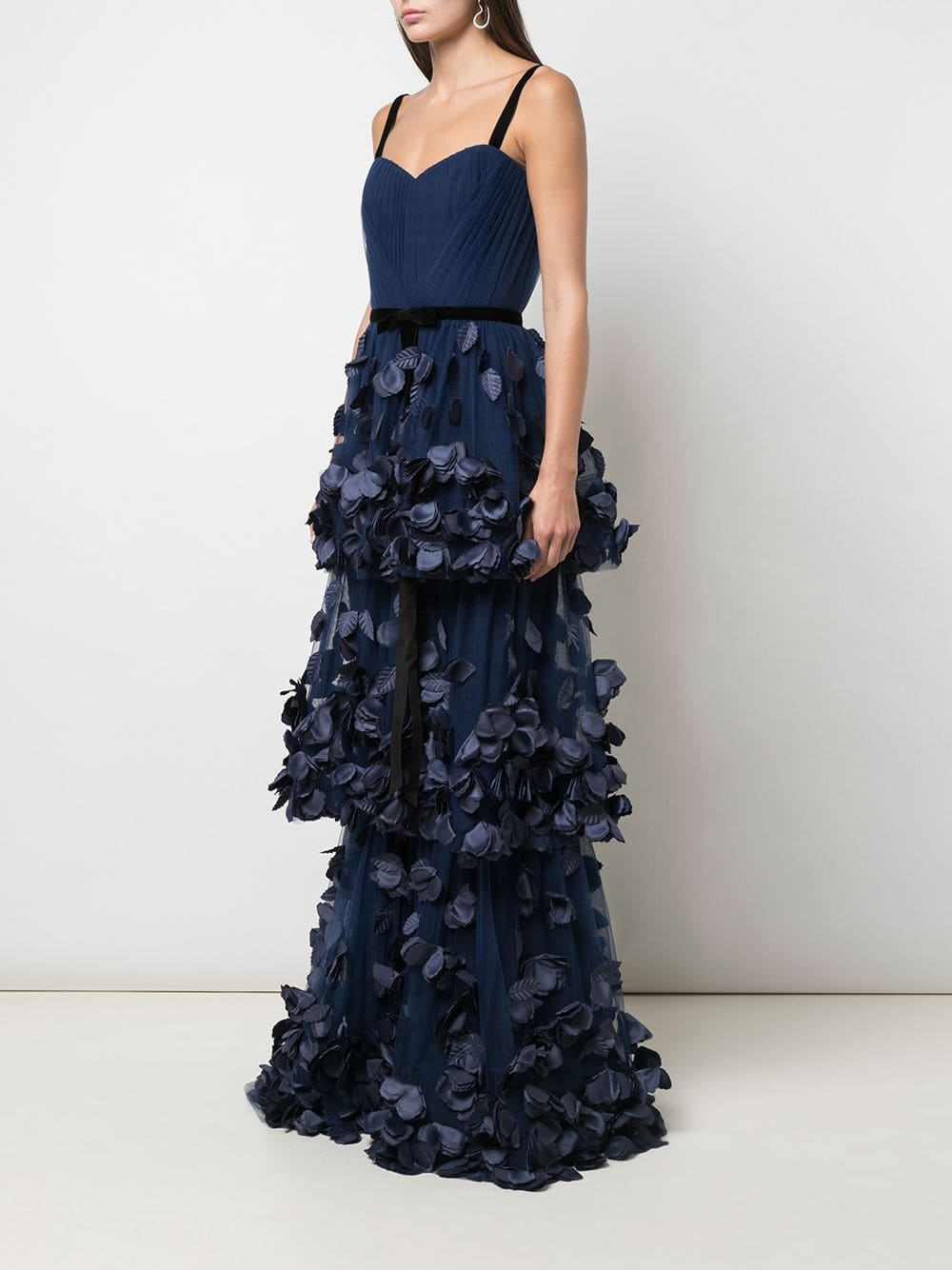 Slip Draped 3D Floral 3Tier Gown