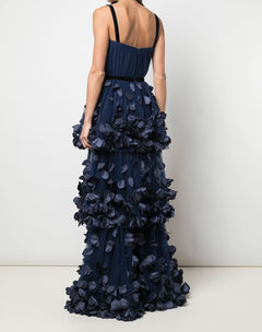 Load image into Gallery viewer, Slip Draped 3D Floral 3Tier Gown