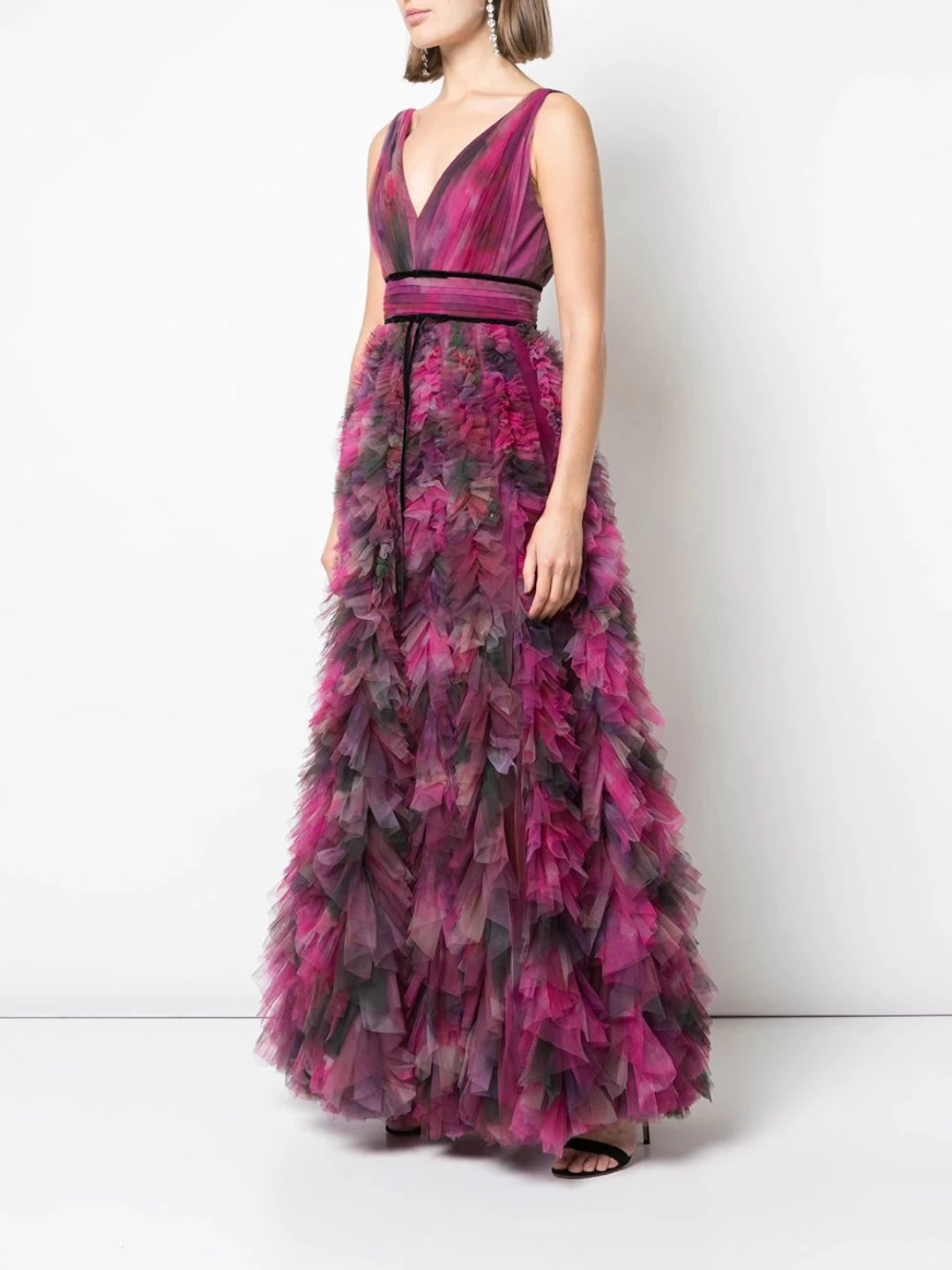 V-neck Printed Texture Gown