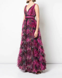 Load image into Gallery viewer, V-neck Printed Texture Gown